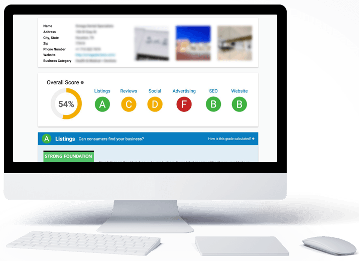 Example digital marketing report card results for a business.